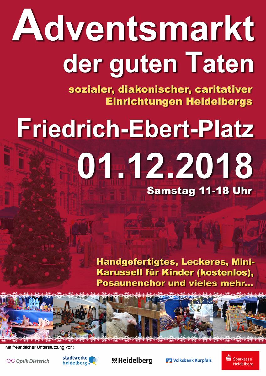 Adventsmarkt in Heidelberg am 01.12.2018 auf dem Friedrich-Ebert-Platz