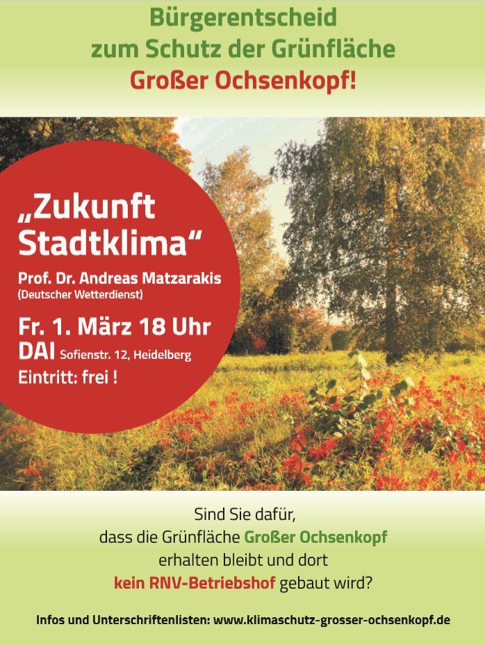 Zukunft-Stadtklima, Veranstaltung 01.03.2019, Heidelberg, DAI, 18 Uhr