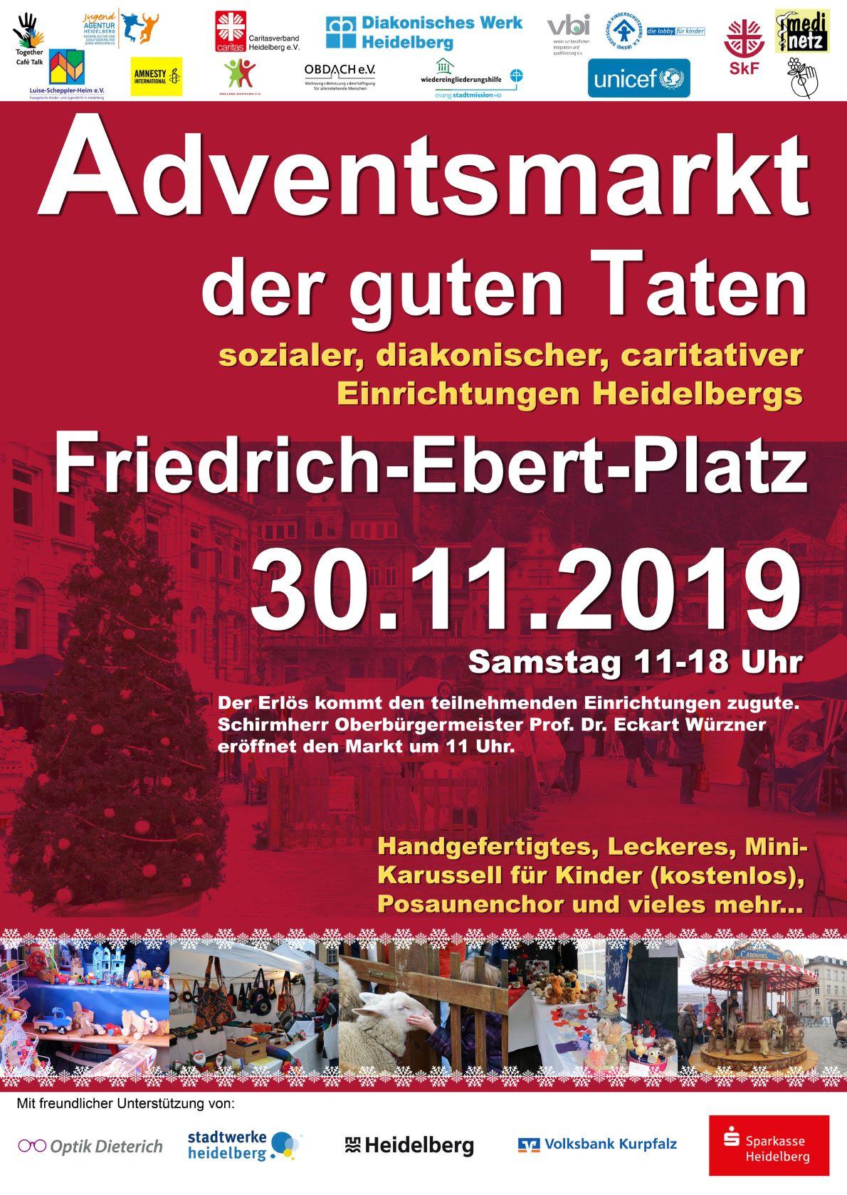 Adventsmarkrt der guten Taten am 30.11. 2019, Friedrich-Ebert-Platz in HD